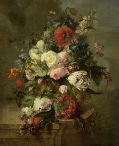 Still Life with Flowers, Harmanus Uppink, 1789 - Rijksmuseum Art Floral, Flower Of Life, Flower Art, Vintage Flowers, Vintage Floral, Dutch Painters, Old Paintings, Ikebana, Botanical Illustration