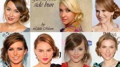 Hairstyle - Side swept wedding/prom hairstyle for long hair Curly bun updo Celebrity look