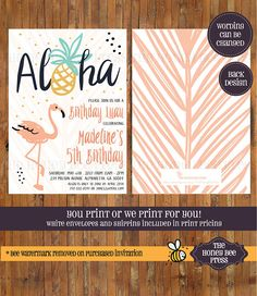 Luau Birthday invitation  Aloha Birthday invitation  Sweet