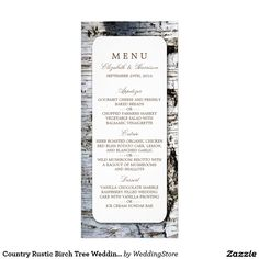 Country Rustic Birch Tree Wedding Menu