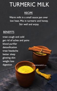Turmeric milk or Haldi doodh- This drink is very well-known for Indians. It is s… - Health Detox Turmeric Drink, Turmeric And Honey, Turmeric Health, Detox Drinks, Healthy Drinks, Stay Healthy, Healthy Food, Healthy Living, Happy Healthy