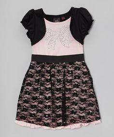 This Pink & Black Rhinestone Layered Dress - Girls is perfect! #zulilyfinds