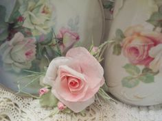 (MABLE) Victorian Paper Rose Clip Lamp Decor Chic n Shabby