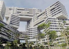 An OMA-designed housing complex comprising 31 apartment blocks stacked diagonally across one another.