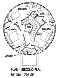 Round-Elliptical Plan [2nd floor wow ~~~ I'd want to do something besides these swing doors - look how much room they take up! remember sliding pocket doors? wouldn't a segmented pocket door work better here? jh]
