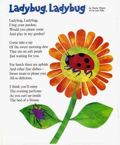 from Ladybug Magazine ©Charles Ghigna from Children's Playmate Magazine ©Charles Ghigna Preschool Poems, April Preschool, Kindergarten Songs, Kindergarten Language Arts, Kids Poems, Preschool Learning Activities, Toddler Learning, Nursery Rhymes Lyrics, Grouchy Ladybug