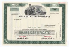 SPECIMEN - U.S. Realty Investments Stock Certificate