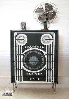 Vintage Styled Box Camera Ikea Rast Dresser on Hairpin Legs ~ Retro Decor Fun! by ProdigalPieces on Etsy