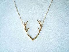 Antler Necklace - Silver & Gold - Deer Antlers Horn Pendant Necklace