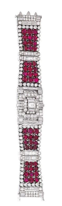 PLATINUM, RUBY AND DIAMOND BRACELET, CARTIER, LONDON.  The flexible strap set with 48 round and oval-shaped rubies weighing approximately 29.00 carats, centered by a rectangular diamond weighing approximately 1.25 carats, accented by round and baguette diamonds weighing approximately 19.65 carats, length 6¾ inches, signed Cartier London, numbered 04132; circa 1935. #diamondbracelets