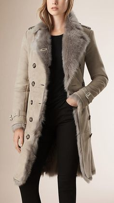 Light grey Shearling Trench Coat - Image 1