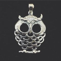 Wise Owl Pendant. Silver 925 carat.
