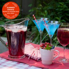 Three great summer cocktail recipes for your next happy hour party!  - Cool Blue Martinis  -Pomegranate- Hibiscus Iced Tea  -Red Wine & Sangria with Citrus & Orange Liqueur