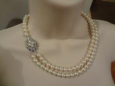 Bridal pearl necklace, rhinestone bridal necklace, bridesmaid pearl necklace two strand Allison II