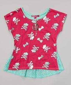 Look at this #zulilyfind! Fuchsia Skull & Crossbones Fishtail Top - Toddler & Girls #zulilyfinds
