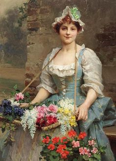 """The Flower Seller"" depicting young girl carrying a tray full of flowers, in the manner of Louis Marie de Schryver (French, 1862-1912)"