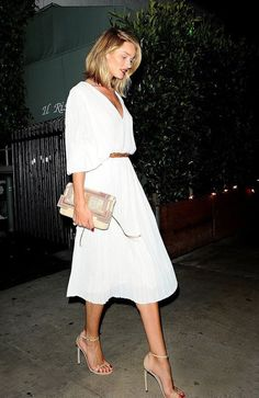 28 Chic Spring Bridal Shower Outfits To Get Inspired: white midi dress with a leather belt and nude heels