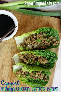 Copycat PF Chang's Chicken Lettuce Wraps SEE FULL RECIPE: http://www.supercouponlady.com/copycat-pf-changs-chicken-lettuce-wraps/