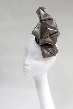 Gunmetal metallic leather origami headpiece, lady gaga, cosmic, ascot, the races. on Etsy, £250.69
