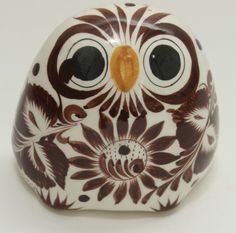 Vintage Ceramic Owl Made in Mexico  White and Brown Designs Initialed  by Artist picclick.com