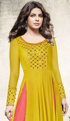 Yellow & Salmon Pink Designer Embroidered Georgette Anarkali Suit Kurti Embroidery Design, Embroidery Suits, Hand Embroidery Dress, Neckline Designs, Dress Neck Designs, Blouse Designs, Kurta Designs Women, Salwar Designs, Indian Gowns Dresses