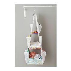 IKEA - PLURING, Zawieszane półki, 3 przegródki, Kieszenie po bokach to jeszcze więcej miejsca na drobne rzeczy.Produkt można używać w całym domu, nawet w pomieszczeniach o dużej wilgotności, takich jak łazienka.Jeśli wolisz mieć przegródki zwrócone przodem do siebie, możesz wyjąć wieszak i zamiast tego zawiesić PLURING za pomocą zapięcia na rzepy.