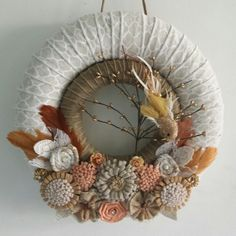 Creamy orange, glittery bird, double wreath. A wonderful gift for my step mom who stepped up to the plate because she wanted to.
