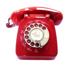 Red GPO telephone 706 model, 1959. Offered by Thirteen Interiors at Alfies Antique Market.
