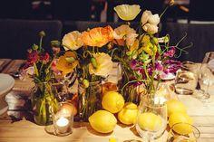 summer wedding fruit centerpieces - photo by Louisa Bailey http://ruffledblog.com/melbourne-town-hall-wedding