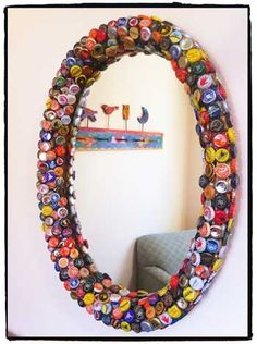 17 Creative DIY Bottle Cap Art and Craft Ideas to Reuse Bottle Caps Bottle Cap Mirror.Creative Ways to Recycle Bottle Caps Diy Bottle Cap Crafts, Beer Cap Crafts, Bottle Cap Projects, Beer Bottle Caps, Bottle Cap Art, Beer Caps, Bottle Top, Bottle Stopper, Diy And Crafts