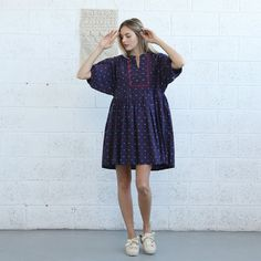 Oversized Mini Dress Loose Fit Dress Raglan Sleeves by Naftul