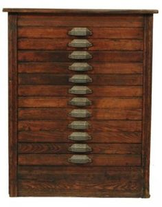 Ant. Moveable Type Printer Cabinet w Numbered Drs. : Lot 718