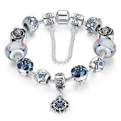 Wowl Silber überzogene Charme-Armbänder mit Lampwork Glaskorn für Frauen-Mädchen-Geschenk