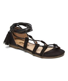 Take a look at this Black Wrap-Strap Sandal today!