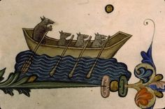 A crew of rats in a boat. From Guillaume Durand's Pontifical created in Avignon, France, in circa 1359-1390. Paris, Bibliothèque Stainte-Geneviève, Ms. 143, fol. 77v.