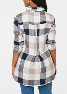 Plaid Print Button Up Long Sleeve Blouse Dress Neck Designs, Designs For Dresses, Casual Work Outfits, Work Casual, Kurta Designs, Blouse Designs, Print Button, Diy Dress, Blouse Styles