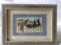 Persian Miniature Painting on Bone with Marquetry Style Frame