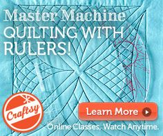 Learn to use rulers to guide free motion quilting! Great class with tips-- master free motion quilting  with a little help from a ruler to tell you where to go or take your wonderful FMQ to a whole new level!