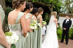Bridesmaids flowers - White and green hydrangeas, hypericum berries, Star of Bethlehem