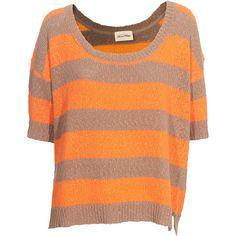 American Vintage Sawyer Make-Up Orange Fluo Shortsleeved Knit Sweater ($185) ❤ liked on Polyvore