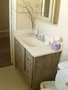 make a bathroom vanity look like a custom piece of furniture from