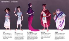 The Wild Swans - Character Lineup by ~inkandichor on deviantART Female Character Design, Character Design Inspiration, Character Concept, Character Art, Concept Art, Roman Characters, Color Script, Color Theory, Traditional Art