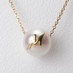 Initial pearl pendant,M,K18