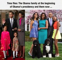 Time Flies:  The Obama family at the beginning of Obama's presidency and them now.