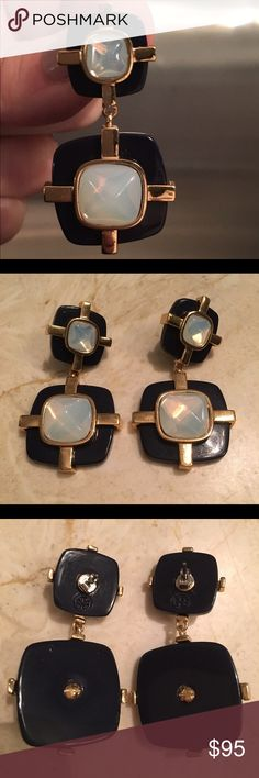 """TORY BURCH NAVY """"MOTHER 0F PEARL""""  DROP EARRINGS Navy plastic with stones and gold tone metal accent. A statement earring that can go casual or dressy. Tory Burch Jewelry Earrings"""