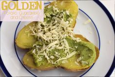 Gluten Free Comfort Food, Golden Potatoes stuffed with guacamole and cheese