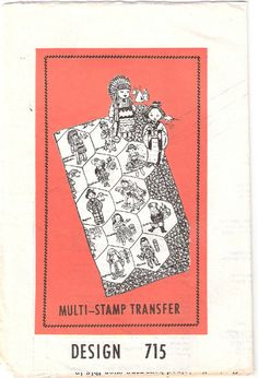 Vintage 50s Multi-Stamp Transfer Dolls-of-Nations Embroidered Quilt Pattern 715, UC