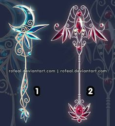 Staffs, blue, red, moon, cool; Anime Weapons