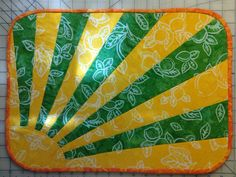 """I made a couple of these placemats for my mother using """"Sun's Up"""" pattern by Eazy Peazy Quilts & Moda Eat Your Fruits 'n' Veggies Batiks. Place Mats Quilted, Gifts For Family, Quilting, Veggies, Couple, Eat, Sewing, Kitchen, Pattern"""