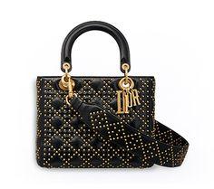 Supple lady dior bag in studded black calfskin - Dior